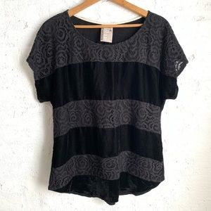 Anthropologie Dolan black lace velvet stripe top